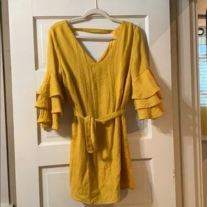 Oliveaceous / yellow ruffle sleeved dress (medium)